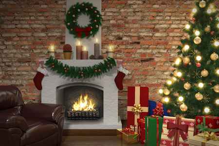 Living room with christmas decorations, tree and presents photo