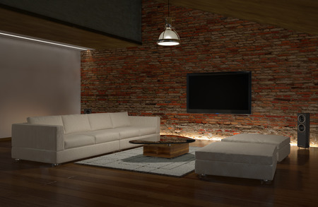 3d modern living room with LCD TV on the brick wall photo