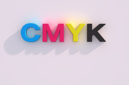key words art: 3d render of cmyk letters over white background with shadow Stock Photo