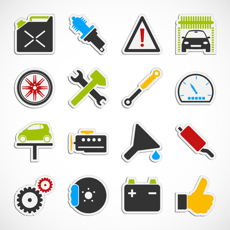 Set of car service icons over white background. photo