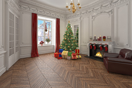 luxury living room: Living room with christmas decorations, tree and presents