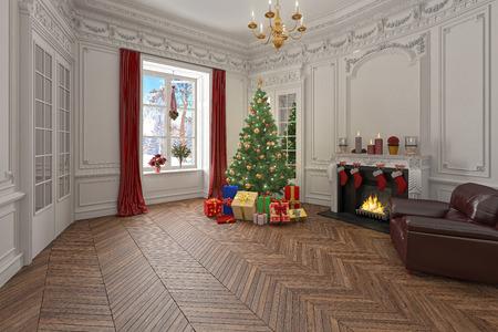 madeira de lei: Sala de estar com decorações do Natal, árvore e presentes