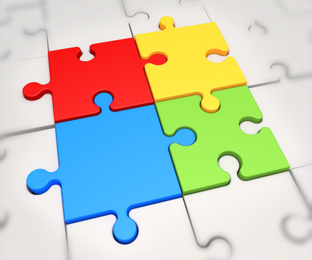 Focus on four colored puzzle pieces photo