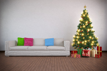 3d rendering of a christmas tree decorated with presents in living room. photo