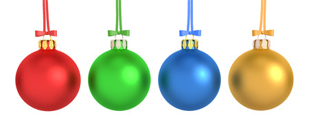 3d rendering of four colorful christmas balls hanging on ribbon isolated on white. photo