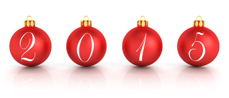 3d rendering of four red christmas balls represents the new year 2015 over white background. photo