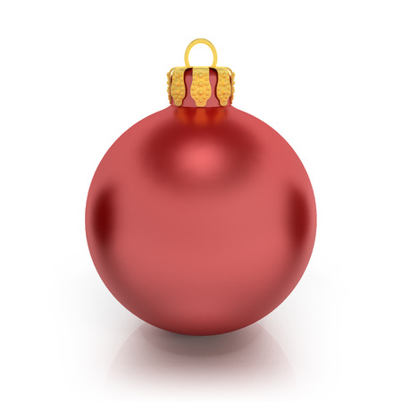 3d rendering of a red christmas ball over white background. photo