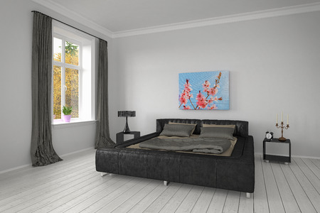 lamp window: 3D rendering of modern bedroom with bed, pillows, floor, lamp, window and curtains. Stock Photo