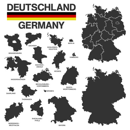 boarders: Illustation - Details of german map with region boarders, federal states in black on white background. Stock Photo