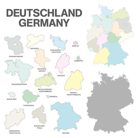 boroughs: Illustation - Details of german map with region boarders, federal states in pastel on white background. Stock Photo