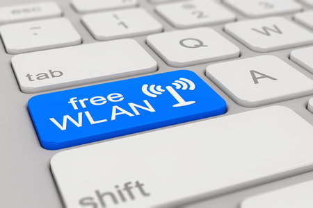 wlan: 3d rendering of a white keyboard with blue free WLAN button, business concept.