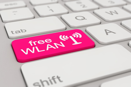wlan: 3d rendering of a white keyboard with magenta free WLAN button, business concept. Stock Photo