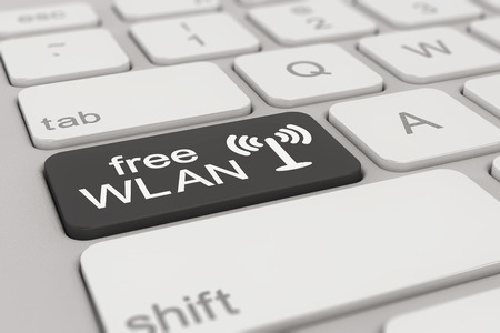 wlan: 3d rendering of a white keyboard with black free WLAN button, business concept. Stock Photo