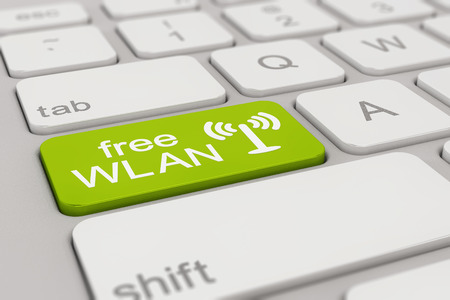 wlan: 3d rendering of a white keyboard with green free WLAN button, business concept.