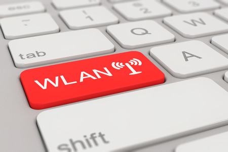 wlan: 3d rendering of a white keyboard with red WLAN button, business concept.