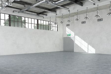 empty warehouse: 3d rendring of a empty warehouse (industrial interior). Stock Photo