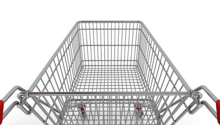 empty shopping cart: 3d rendering of an empty shopping cart over white background. Stock Photo