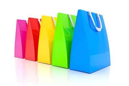3d render - Five colorful shopping bags over white background. Standard-Bild - 115560985