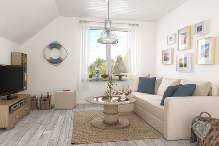 3d render of a maritime holiday flat - living room - interior concept. Stock Photo