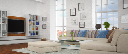 3d render of modern, luxurious, brightly livingroom with a big couch.