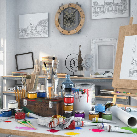3d render - artistic furnishing in the studio with a table full of colours and brushes, in the background paintings, shelves and a wooden easel.