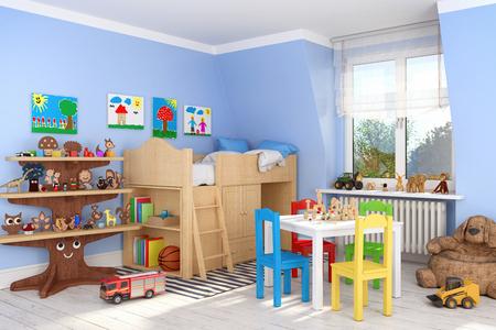 Rendu 3D d'une chambre d'enfants avec lit et jouets - garçon Banque d'images