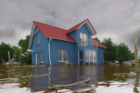 3D render van een overstromend blauw huis - kracht van de natuur Stockfoto