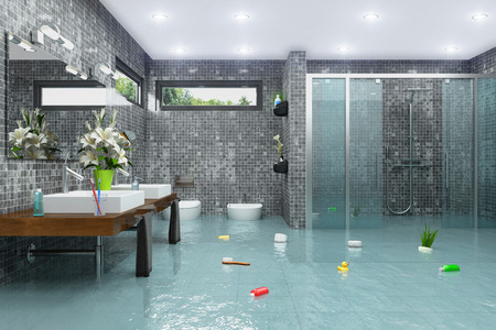3d render of a flooding modern bathroom Stock Photo