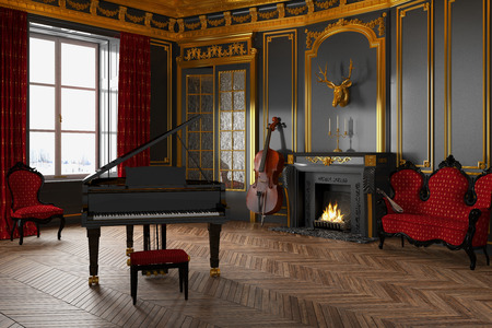 3d render of a luxury, classic room with grand piano and fireplace