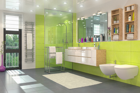 3d render of a modern bathroom in white and green with shower, toilet, bidet and two washbasins with a large mirror.
