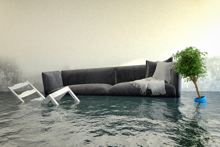 3D-Rendering - Wasserschaden nach Überschwemmung im Haus mit schwimmenden Möbeln.