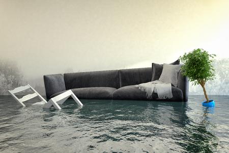 Render 3D - Dañador de agua después de una inundación en casa con muebles flotantes.