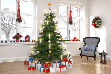 3d render of a nordic living room with christmas decoration and christmas tree.