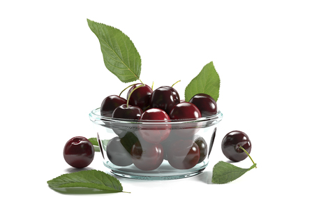 3d render of a small glass bowl with cherries on a white background