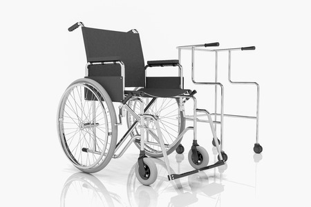 3d render - wheel chair and rollator over white background