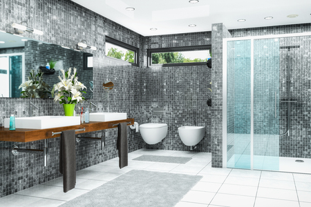 3d render of a modern bathroom in white and black with shower,  bathtub, toilet, bidet and two washbasins with a large mirror. Stock fotó