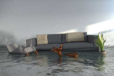 3d render - Water damager after flooding in house with furniture floating. Stock Photo