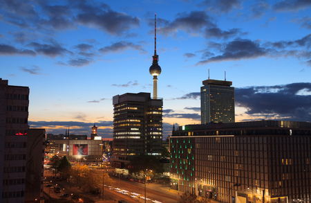 Berlin cityscape at night, germany, europe
