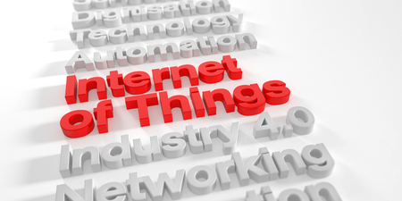 3d render - internet of things in red over white background with shadows - depth of field Foto de archivo