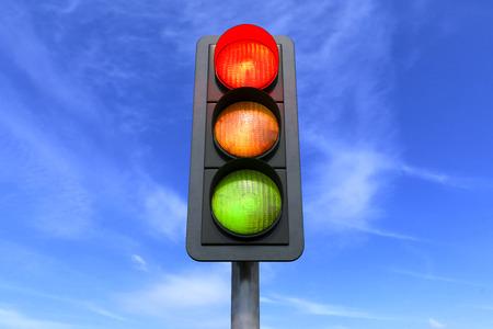 Rendering 3D - traffico stradale - rosso - su sfondo cielo Archivio Fotografico