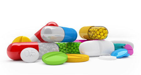 3d rendering of colorful tablets, pills, capsules - medicament over white background.