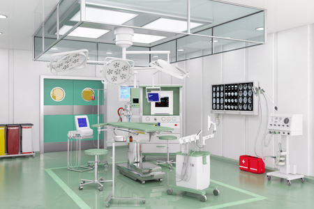 3d render - Modern operating theatre with video management system and ceiling supply units.