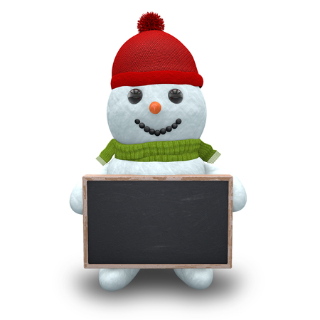 3d rendering of snowman with scarf, hat and chalkboard over white background.