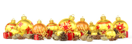 3d render of many golden christmas baubles and anise, cinnamon sticks, walnuts and presents over white background - merry christmas concept Banco de Imagens
