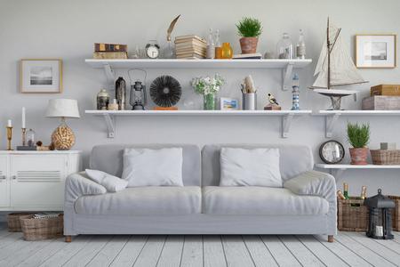 Rendu 3D d'un appartement scandinave - salon avec canapé Banque d'images