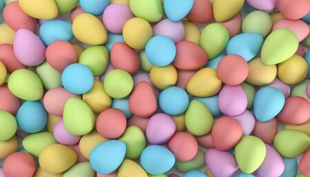 3d render of many Easter eggs in pastel colors - background - happy easter