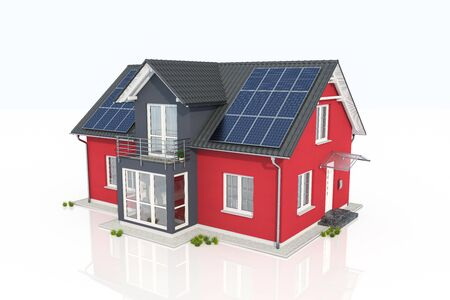 3d render of a red house with solar panel on white reflective background