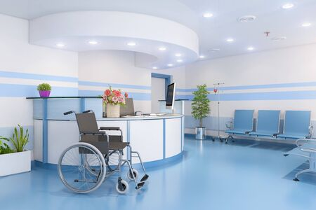 3d render of a waiting room in a doctors practice with reception