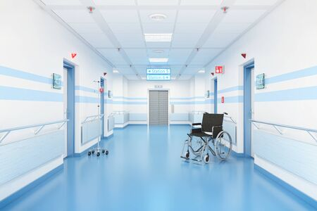 3d render of a corridor in a hospital. There is a wheelchair in the corridor. 写真素材