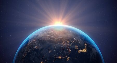 3d render of planet Earth - flying through space - sunrise
